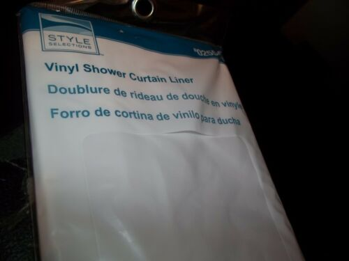 """STYLE SELECTION VINYL SHOWER CURTAIN LINER WHITE 70/"""" X 72/"""" MAGNETS BATHROOM TUB"""