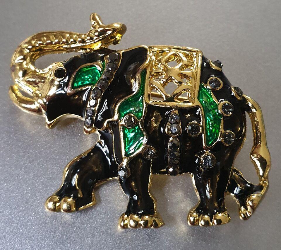 Broche, andet materiale, Skøn Elefant med sort og grøn
