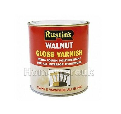 RUSTINS GLOSS VARNISH & STAINS POLYURETHANE FOR INTERIOR WOOD WORKS CLEAR/COLOUR