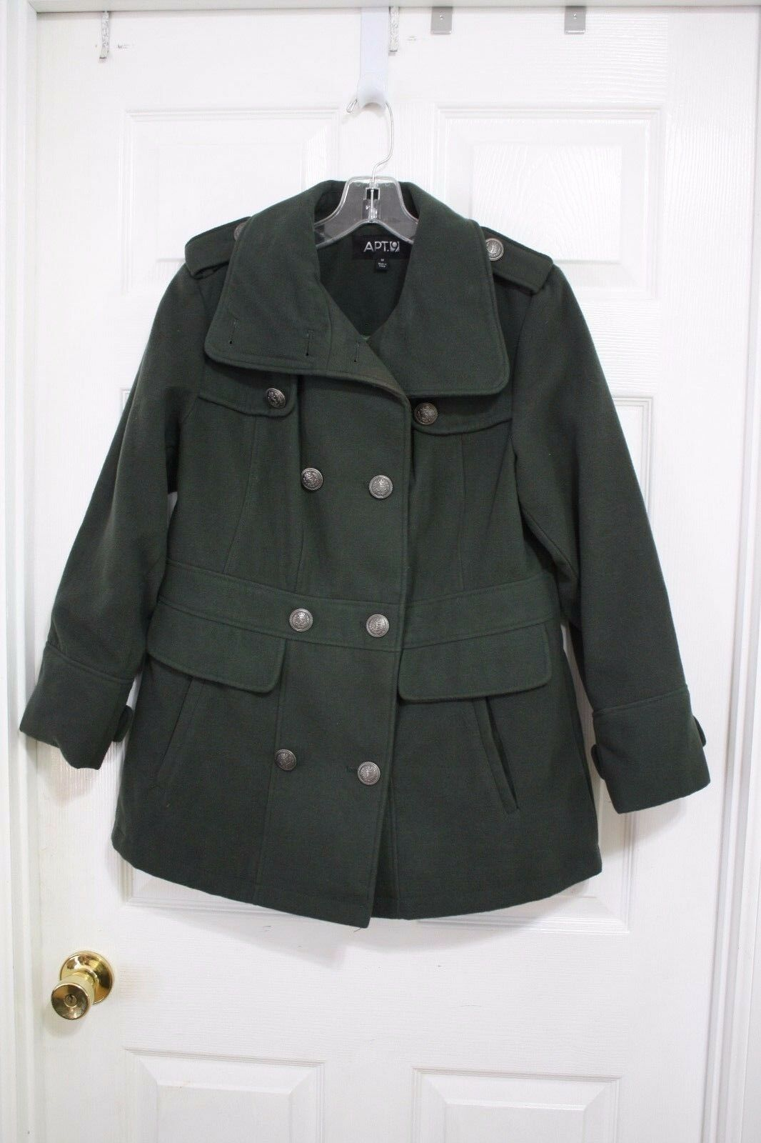Cute APT 9 Green Lined Military Style Pea Coat Faux Wool Button Front Coat M GUC