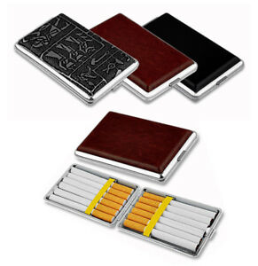 Faux-Leather-Slim-Metal-Regular-Cigarette-Case-Tin-Holder-Holds-Up-To-14pcs