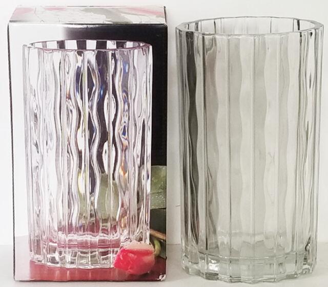 Nib Studio Nova 85 Oval Clear Waves Seca Crystal Vase Made In