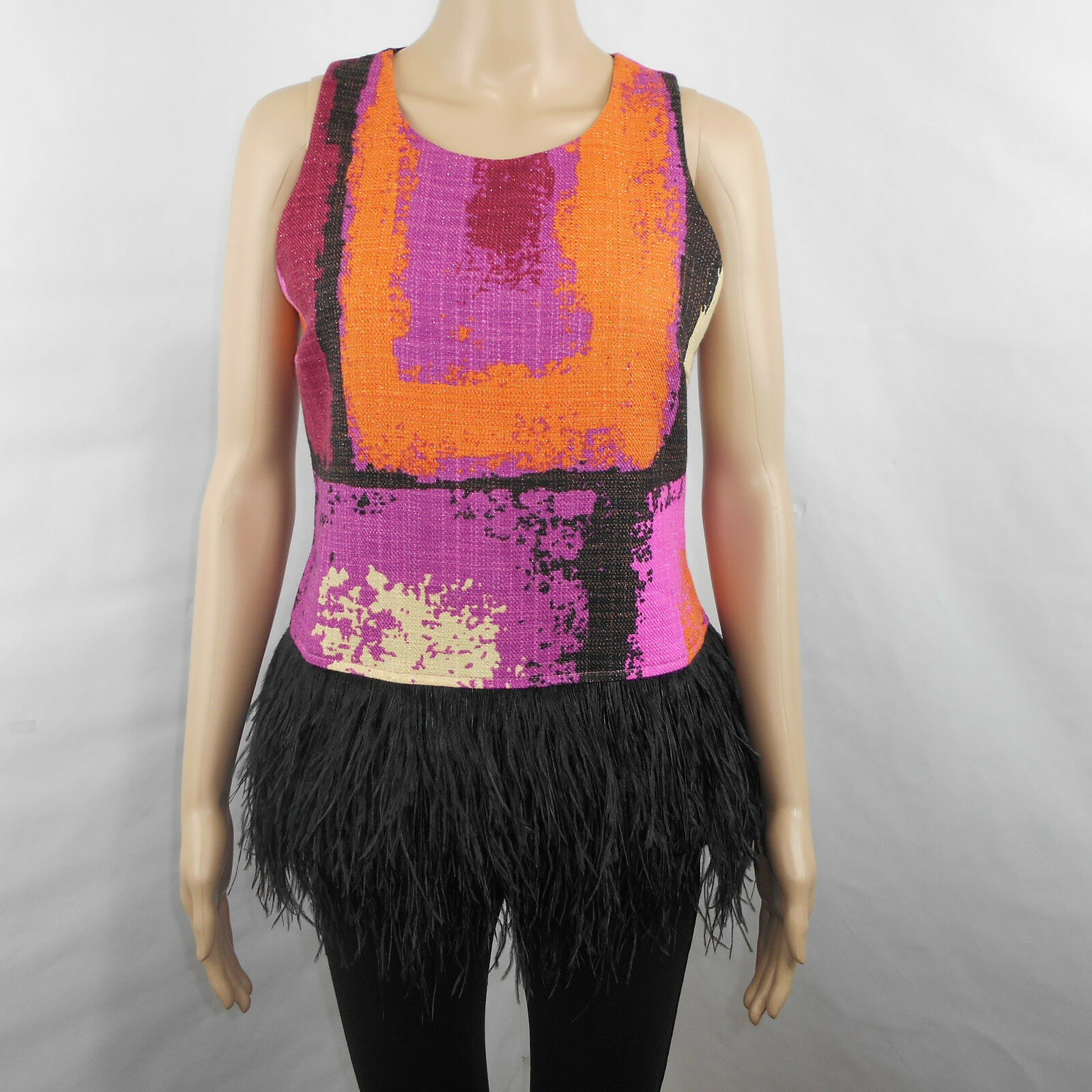 Julie braun damen Starr Tweed lila Orange schwarz Warhol Feather Trim Top Sz 6