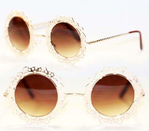 Runde Boho Hippie Metall Sonnenbrille gold nostalgisch Retro 504