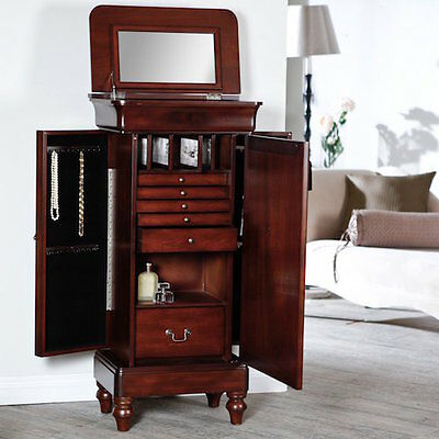 Locking Mirrored Antique Walnut Jewelry Armoire Organizer Cabinet  Storage