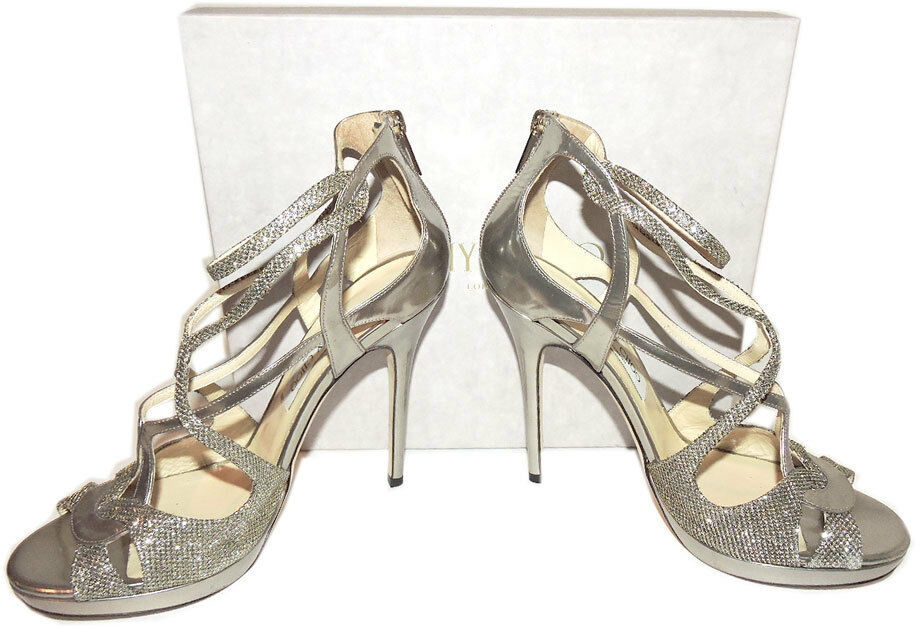 New Jimmy Choo  Vermeil Mirror Glitter Ankle Pumps Strap Pumps Ankle Sandals Heel schuhes 40.5 c219ef
