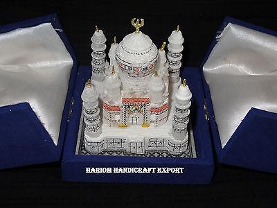 "3""x3"" Alabaster Marble Ethical Taj Mahal Replica Gorgeous Decor Christmas Gifts"