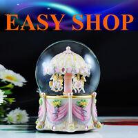 22cm Horse Music Box Carousel Merry Go Round Christmas Gift Birthday Snow Globe