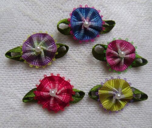 """7//8/"""" ombre jaune//violet Picot Bord Cercle ruban fleur avec perle 36 Pcs-R0142Y"""