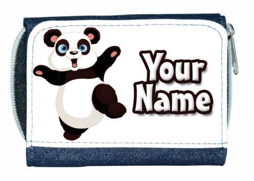 PRESENT * PANDA PERSONALISED DENIM PURSE MINI WALLET *GREAT NAMED GIFT