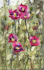 °♡Original Aquarell,Watercolor,Frühling, Flowers,Blumen Natur,Wildblumen♡°