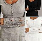 Sexy Damen Spitze Crochet Langarm Bluse T-Shirt Tunika Tops Hemd Oberteil