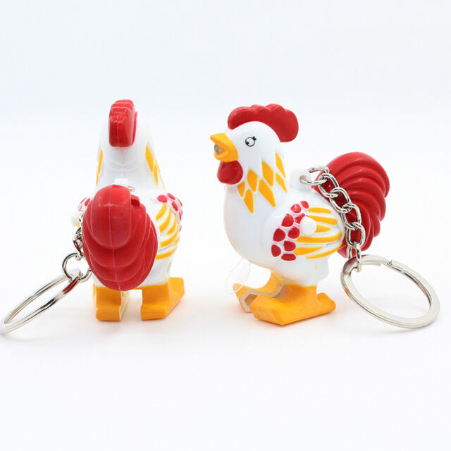 Mini Flashlight LED Keychains Kids Toy Cute Chicken with Sound Keyring Keyholder