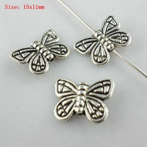 Mixte taille en métal argenté Tortue Papillon Chouette Oiseau Charme Loose Spacer Beads