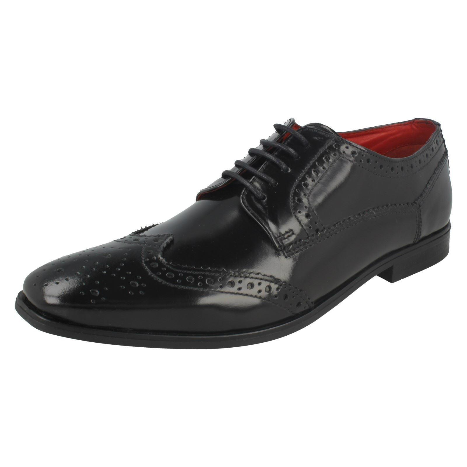 Mens Base London Harold Hi Shine Black Leather Smart Lace Up Shoes