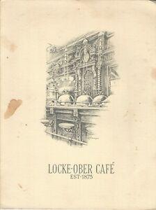 Vintage LOCKE-OBER CAFE Menu Boston Massachusetts 1973