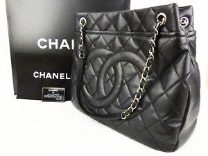 509ee3edd525 EX Auth CHANEL GST Grand Shopping Tote Bag Caviar XL Large Shoulder ...