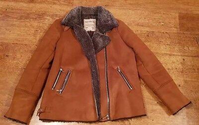 various design choose best bright n colour Pull & Bear Brown Suede Aviator Biker Jacket Size L pre-owned | eBay