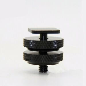 1/4 Inch Dual Nuts Tripod Mount Screw to Flash Camera Hot Shoe Adapter Supply CA