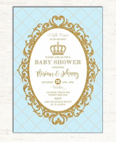 Blue gold baby shower invitation little prince party invite glitter blue gold baby shower invitation little prince party invite glitter 1st birthday ebay filmwisefo Choice Image