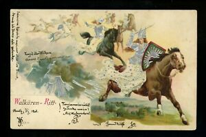 Silver-Trim-postcard-military-style-soldiers-on-horse-embossed-printed-Germany