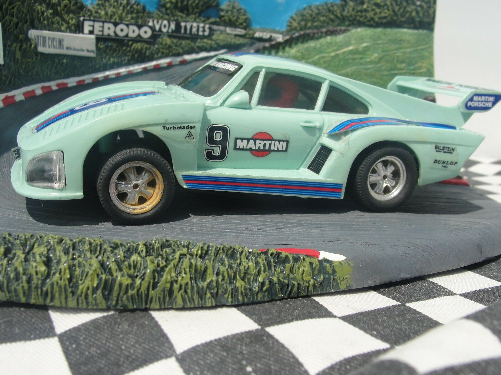 SCALEXTRIC SPANISH PORSCHE 935 MINT GREEN  71 1 32 SLOT NEAR MINT UNBOXED