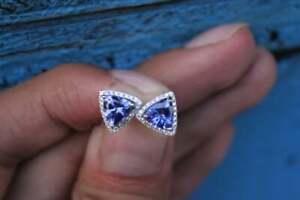 1Ct-Trillion-Cut-Tanzanite-amp-Halo-Diamond-Stud-Earrings-14K-White-Gold-Finish