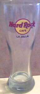 Hard-Rock-Cafe-LA-JOLLA-8-25-034-Tall-PILSNER-GLASS-Classic-HRC-Logo-GLASSWARE-BEER