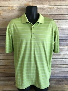 Nike-Golf-Short-Sleeve-Polo-Shirt-Size-Large-Mens-Green-Striped-S-S-Dri-Fit-top