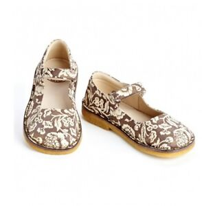 new-girls-PePe-Brown-Floral-Mary-Janes-shoes-24-us-8-leather-made-in-Italy