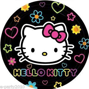 HELLO KITTY Neon Tween SMALL PLATES 8 Birthday Party Supplies