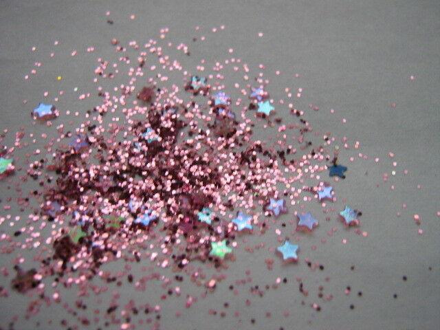 3g POT   NOUVEAU NAIL PINK  PRE-MIXED GLITTER ACRYLIC POWDER  ROSE  STARS -