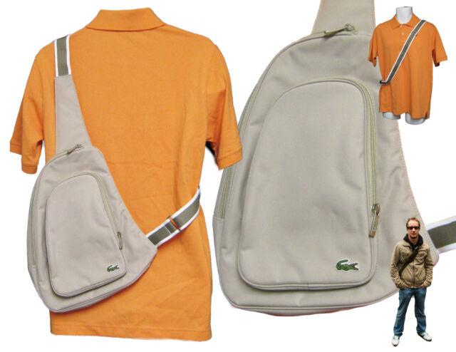 New Vintage LACOSTE Backpack Bag Single Strap Casual 2.13 Light Beige