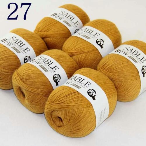 AIP Super Suave Puro Sable Cachemira Abrigo chales Hand Knit Wool Crochet 50grx6 27