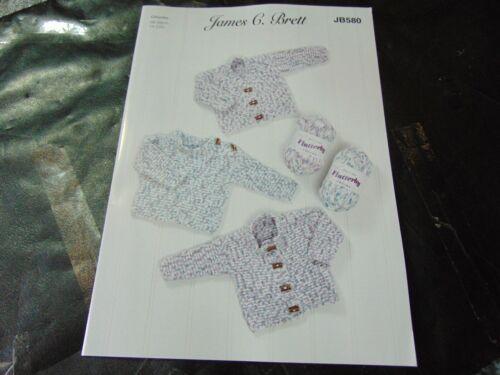 James C Brett Chunky Knitting Pattern JB580 Sweater /& Cardigans  14-22 ins