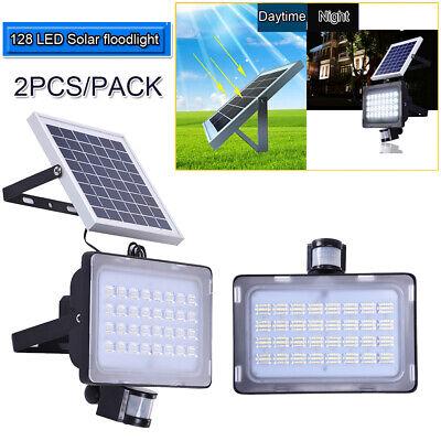 NEW 2 x PIR MOTION SOLAR POWER SENSOR LED FLOODLIGHT SECURITY OUTDOOR GARDEN