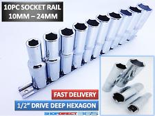 "10pc 1/2"" Drive Socket Set Deep 10-24mm Metric Sockets & Rail Crv Long Reach 4-7"