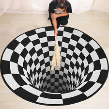 3D Swirl Print Optical Illusion Area Rug Non-slip Carpet Floor Pad Doormat Mats