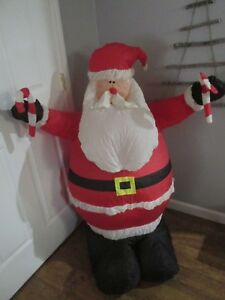 Details About 4 Foot Christmas Inflatable Santa Claus W Candy Cane Indoor Outdoor Yard Gemmy