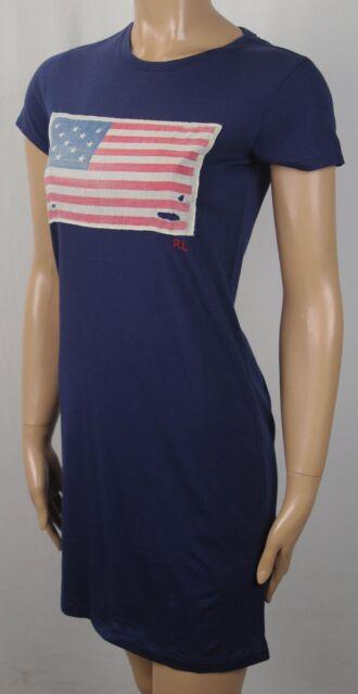 Womens Polo Ralph Lauren Navy USA Flag RL Short Sleeve T Shirt Dress S