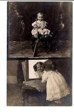AZO 1904-1918 RPPC dual image baby boy w/ gun girl  looking pretty mirror
