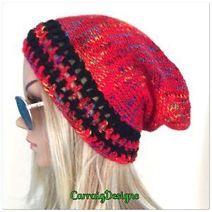 7240a2fe734 HANDMADE Womens teens Slouchy Red Beanie hat dread tam crochet knit ...