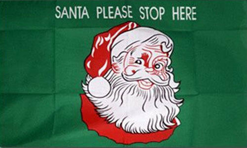 3/' x 2/' SANTA PLEASE STOP HERE FLAG Father Christmas Face Happy Merry Xmas
