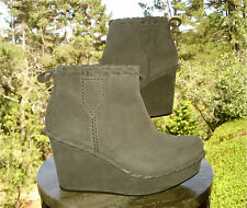 Pedro Garcia HERA Gray Suede Platform Wedge Fur Lined Ankle Boot Women 37 7