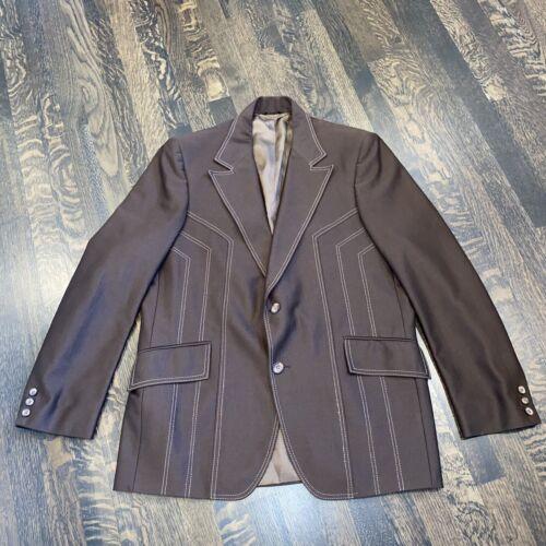 Vtg 60s 70s H BAR C Leisure Suit Jacket Western Bl
