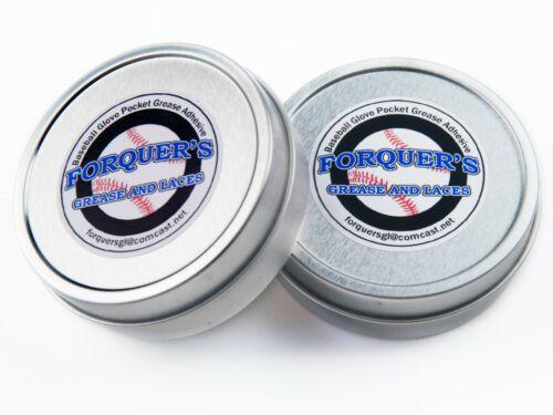 2-1.5 oz Tins Baseball Glove Pocket Grease Adhesive Forquer/'s Grease /& Laces