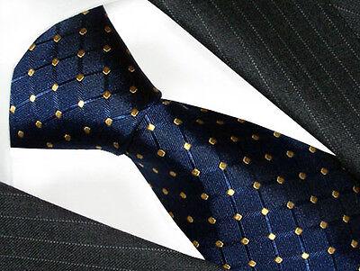 77085 Lorenzo Cana - 100% Silk Neck Tie - Italian Tradition Blue Gold Polka Dots