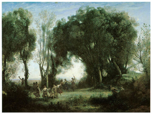 A Morning Dance of the Nymphs 1850 Art Canvas//Poster Print A3//A2//A1 Corot
