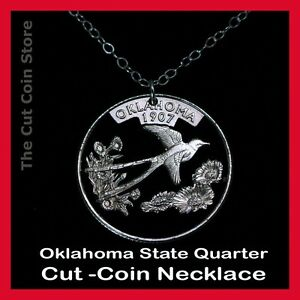 Oklahoma-25-OK-Quarter-Cut-Coin-Necklace-The-Sooner-State-Indian-Blanket-Flower