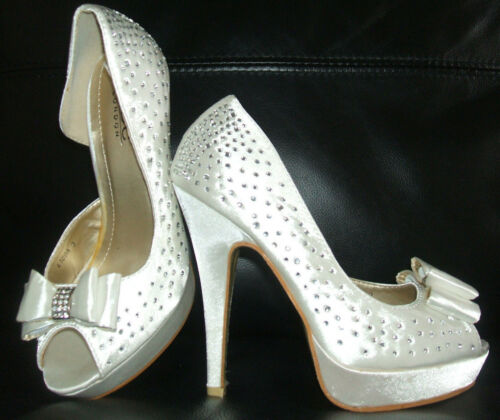 Nouvelle taille 3 4 5 ivoire crème strass satin bow peep toe Mariage Mariage Chaussures